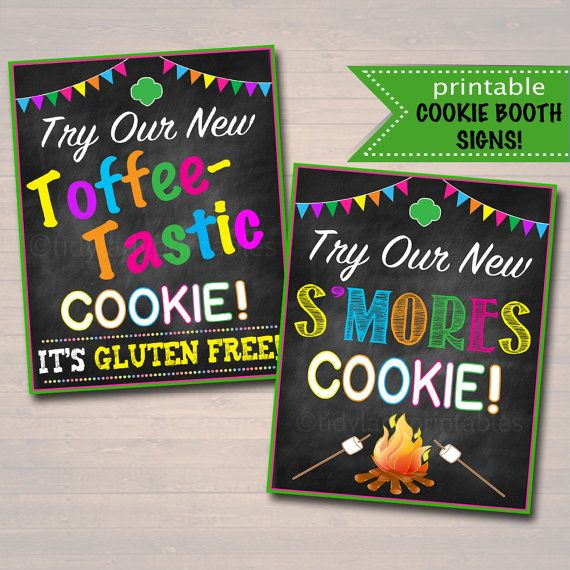 Printable Girl Scouts Cookie Booth Signs Smores And Toffee Tastic