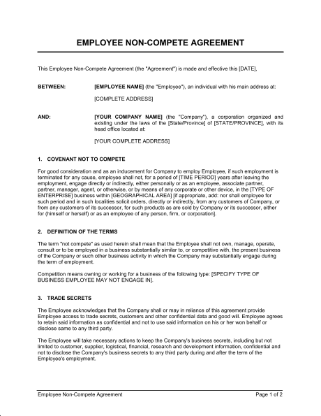 Employee Non Compete Agreement Template Sample Form Biztree