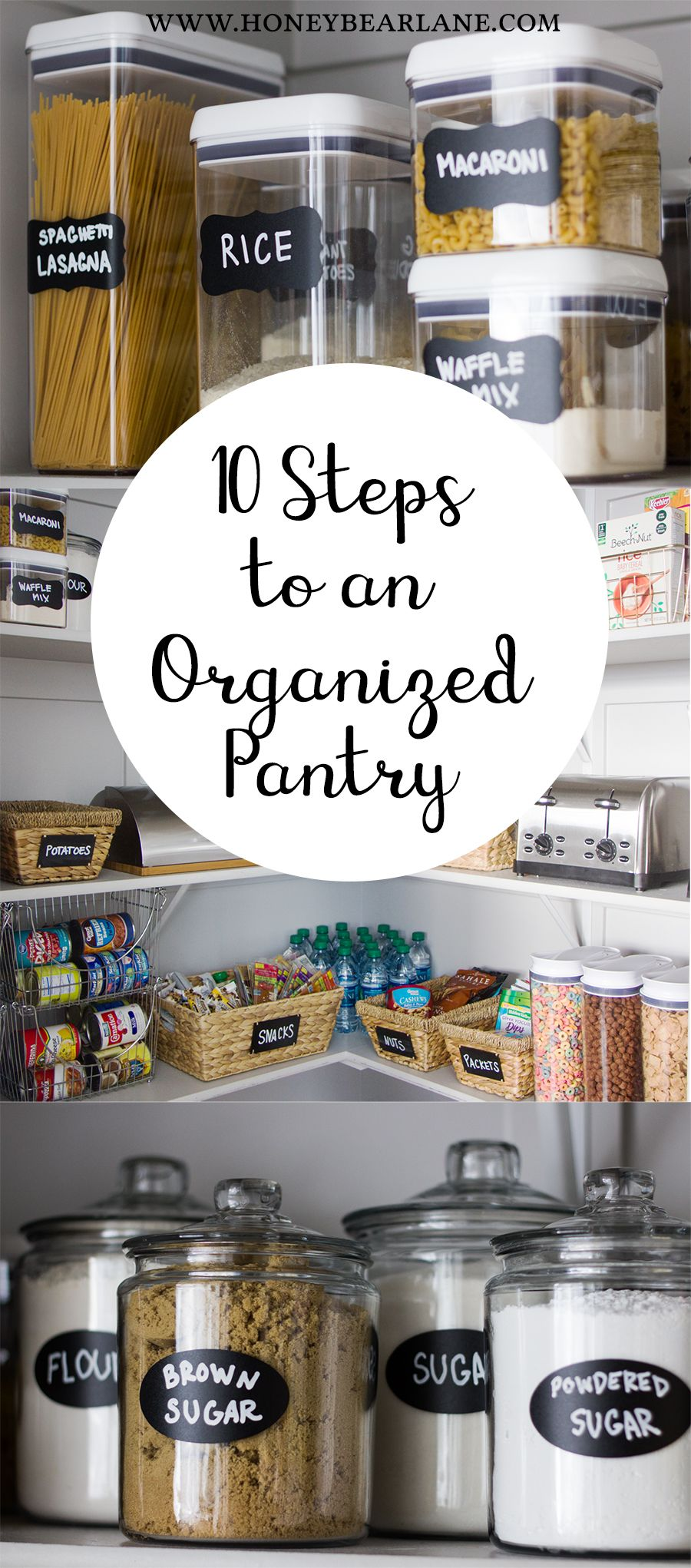 Space in the kitchen by adding shelves and glass canisters with seals - 10 Steps To An Organized Pantry