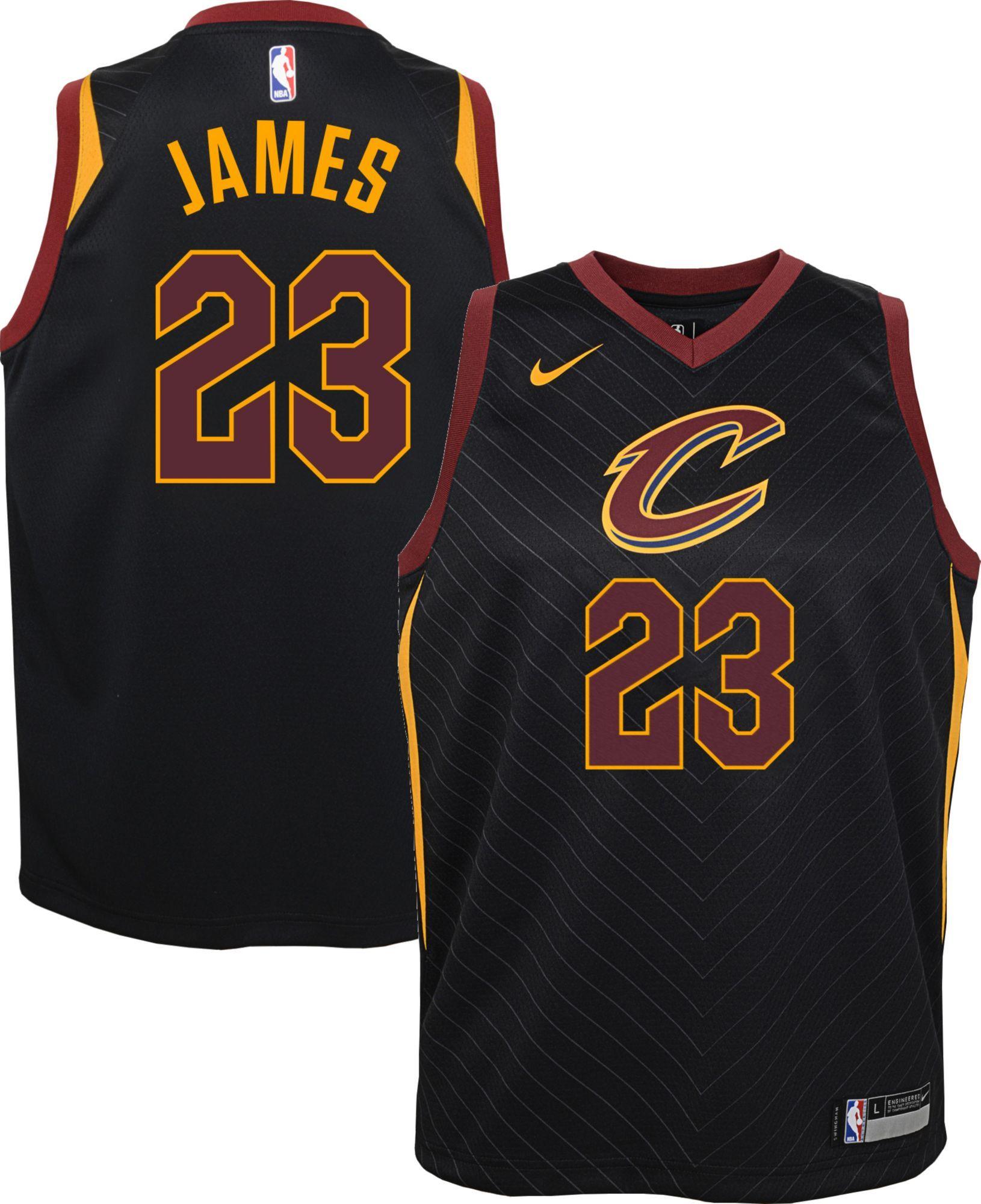b8067476f08 ... cheap nike youth cleveland cavaliers lebron james 23 black statement  dri fit swingman jersey 75c34 cea49.