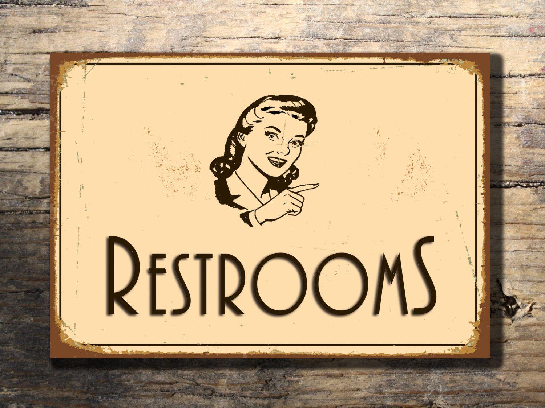 RESTROOM SIGN, Restroom signs, Vintage style Restroom Sign ...