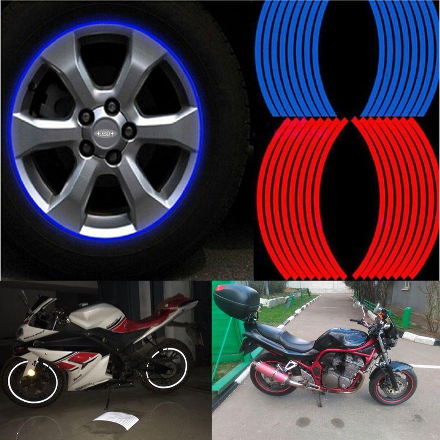 16 pz Strisce Adesivi Moto Adesivo Auto Della Rotella Della Gomma Rim Nastro Riflettente Moto Car Styling per Moto/auto/moto fai da te
