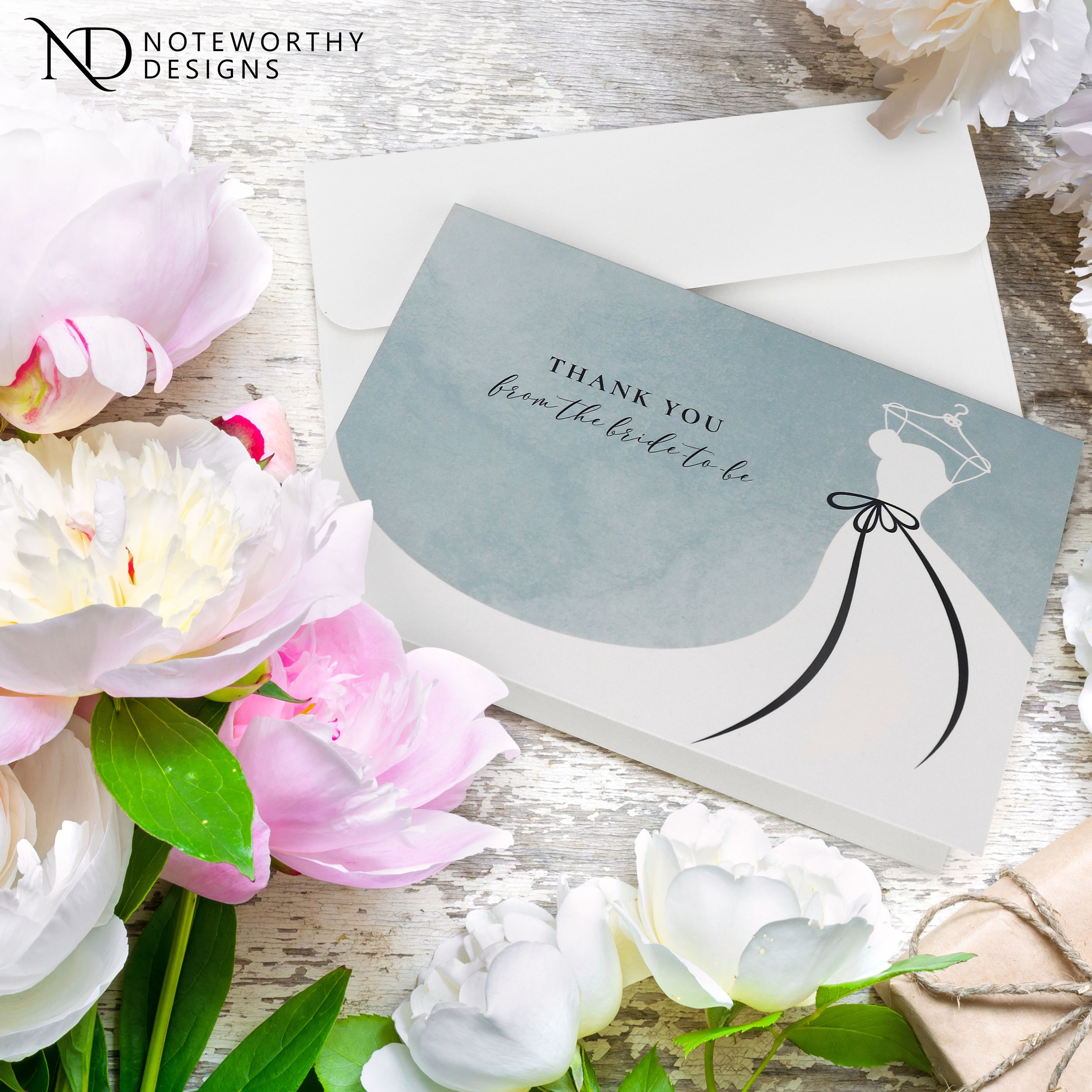 Bridal shower thank you cards with envelopes in 2020