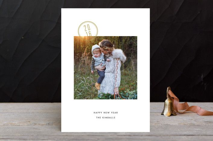 stamped modern minimalist new year photo cards in wheat fields by stacey