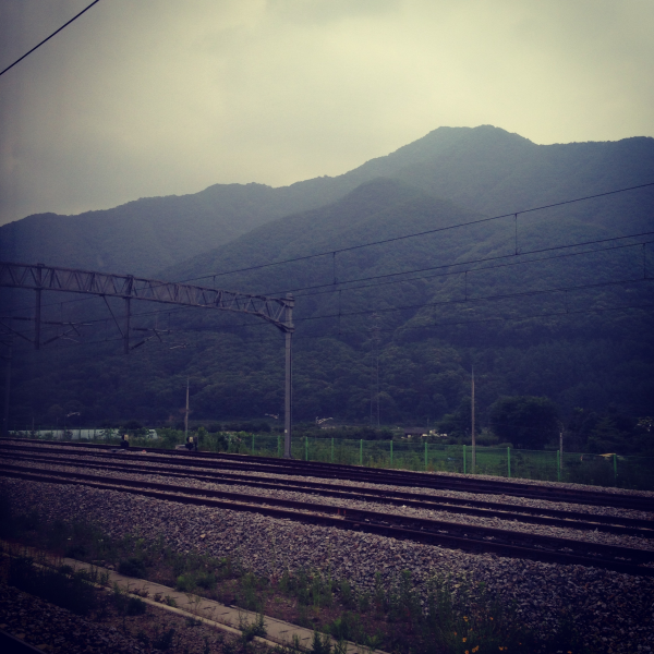 korean mountains countryside train