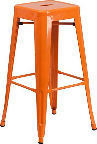 These Tangerine Bar Stools Offer A Perfect Pop Of Color To Liven Up Any Space Durable Steel Construction Ensu With Images Metal Bar Stools Bar Stools Metal Counter Stools