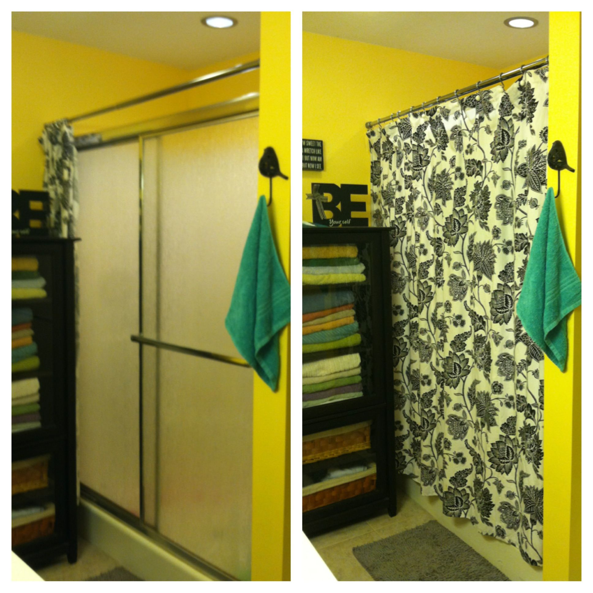 Curtain for front door with glass - My Simple Solution To Hide Those Ugly Sliding Shower Doors Fabric Shower Curtain In