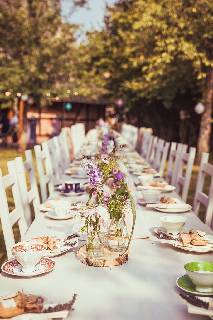 Gartenhochzeit Im Vintage Stil Bild Edelweiss Foto Tischdeko