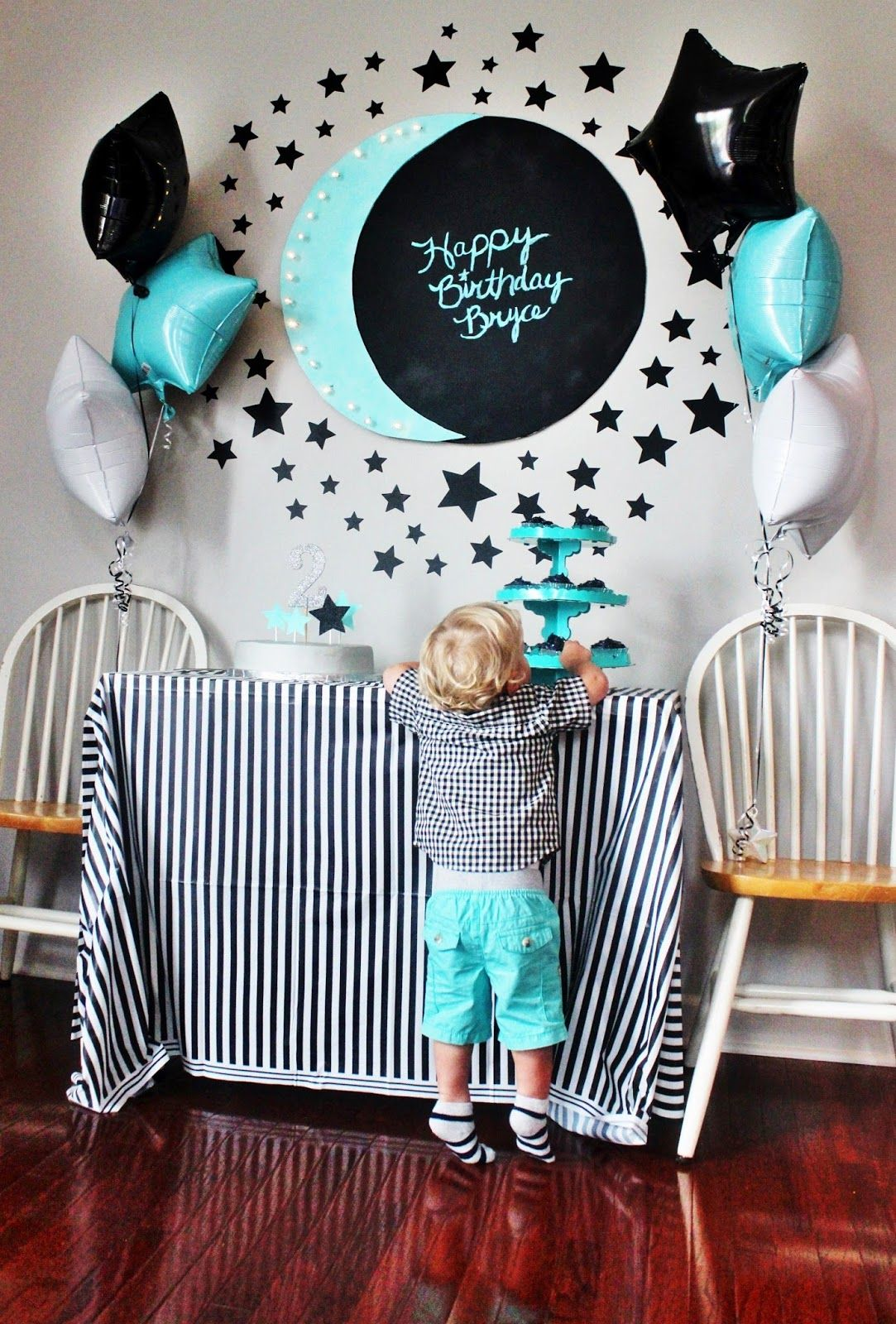 moon star themed birthday party little b turns 2 ideas for kids party birthday party. Black Bedroom Furniture Sets. Home Design Ideas