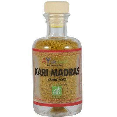 Kari Madras bio Curry fort : subtile association d'épices avec du piment et du poivre favorisant la digestion. #ayurveda #épices