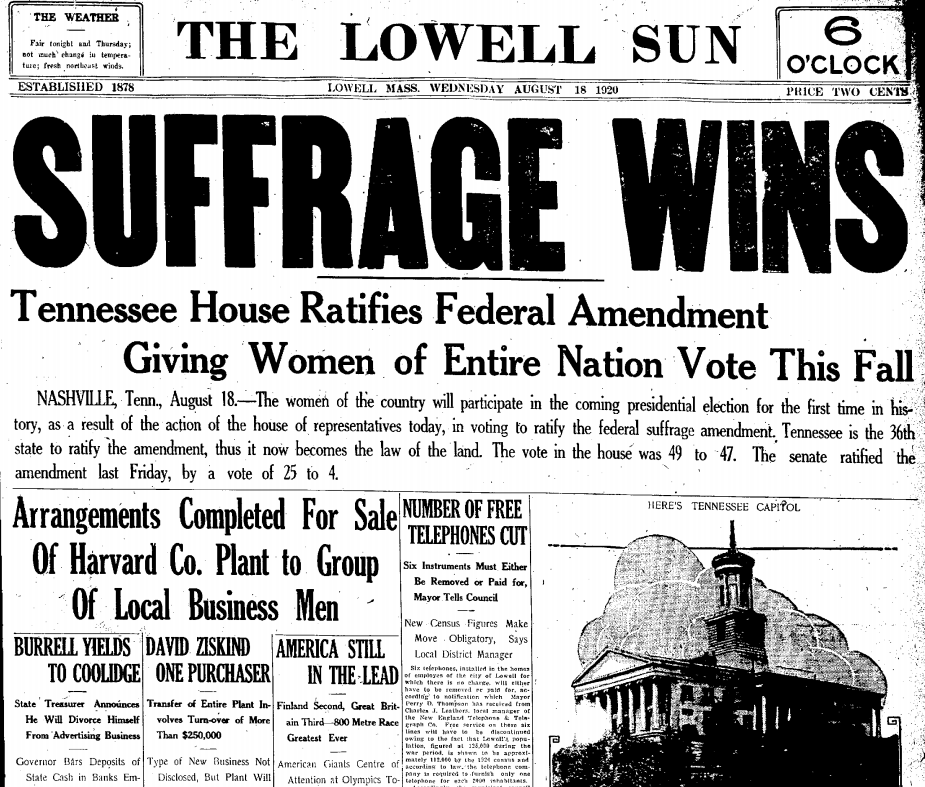women and the right to vote in the 19th amendment After congress passed the 19th amendment in 1919, ratification needed to occur  in 36 states for women's right to vote to become federal law.