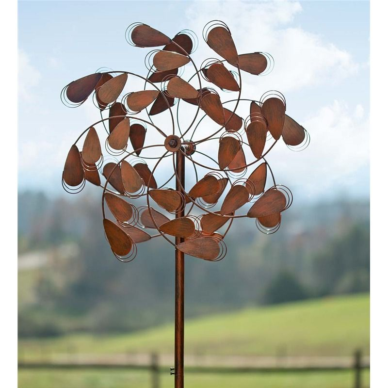 Copper Plume Wind Spinner Decorative Garden Accents Wind Spinners Garden Wind Spinners Wind Sculptures