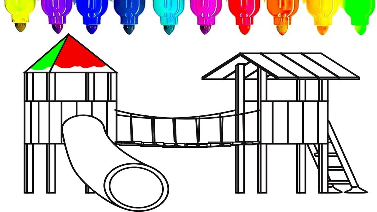 Coloring book page of a playground - Learn Colors For Kids With Playground Coloring Book Fun Coloring Videos