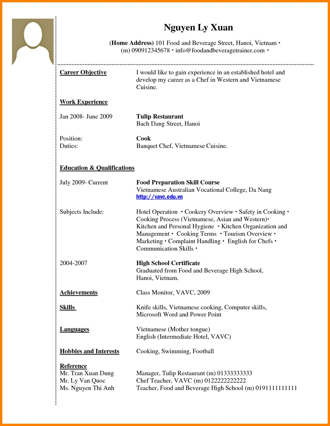 How To Make A Cv For Work Experience Resume Format With