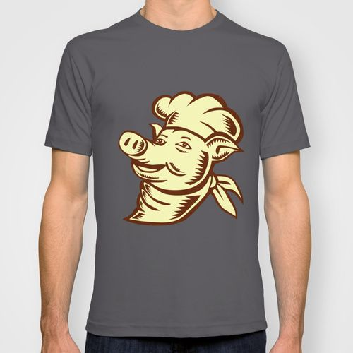 Pig Chef Cook Head Looking Up Woodcut T-shirt. Etching ...
