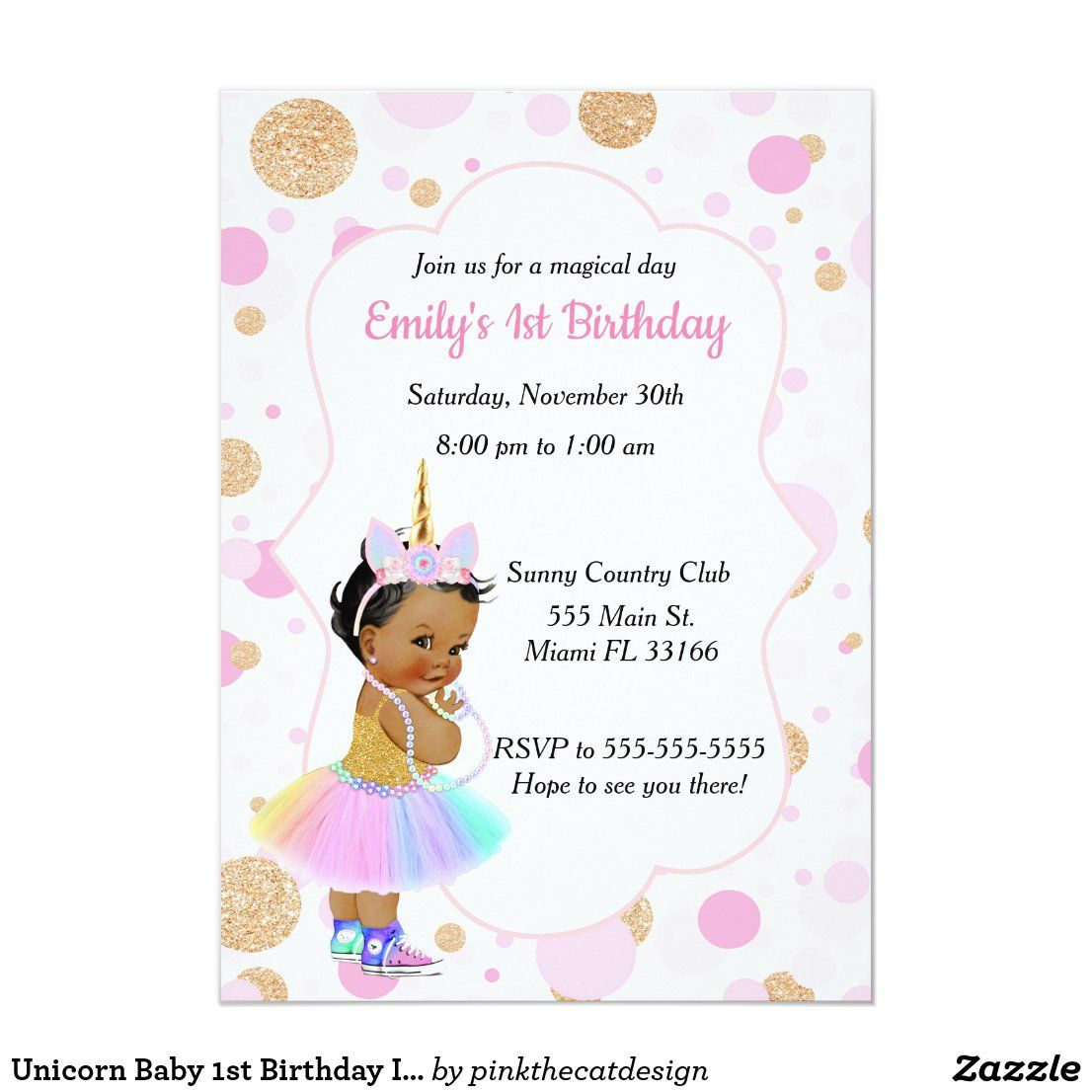 Unicorn Baby 1st Birthday Invitation 3 in