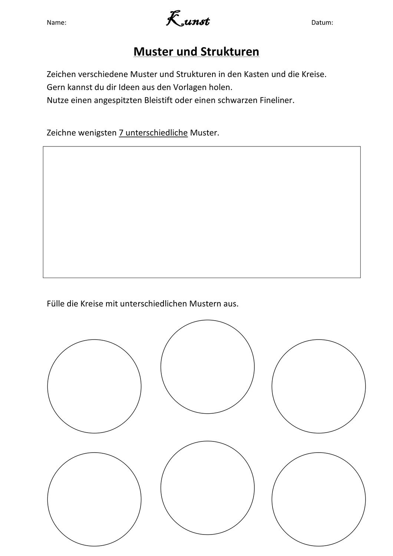 Muster Und Strukturen Unterrichtsmaterial Im Fach Kunst In 2020 Muster Struktur Farben Lehre
