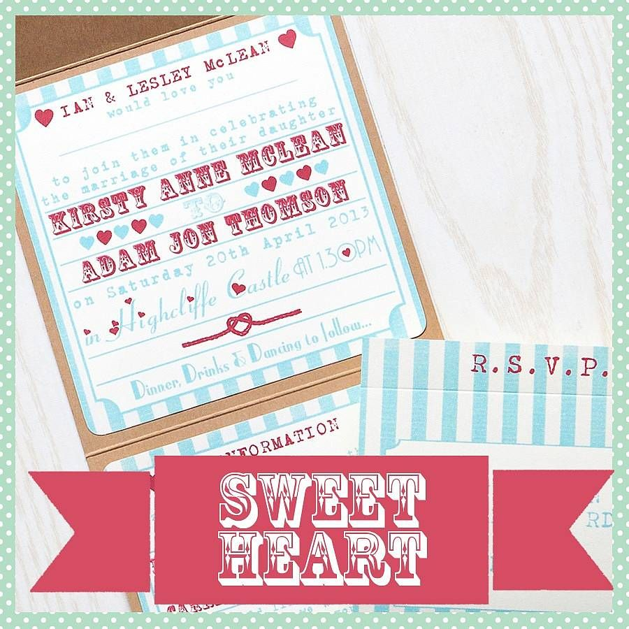pocketfold wedding invitation heart funfair by lovely jubbly ...