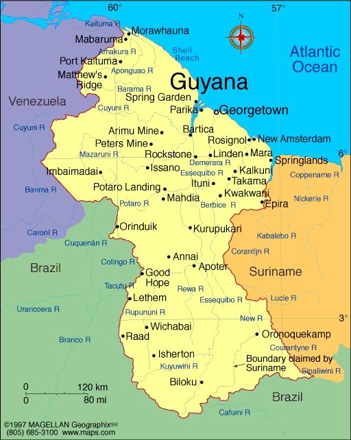 Image result for Guyana Map