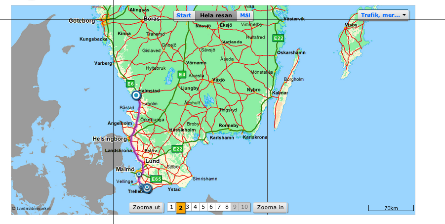 Overview of map how you drive from Trelleborg but can also see