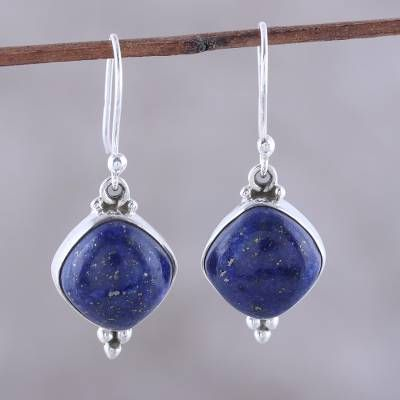 a00e5bcd4 Lapis Lazuli Dangle Earrings from India, 'Gleaming Grandeur' in 2019 ...