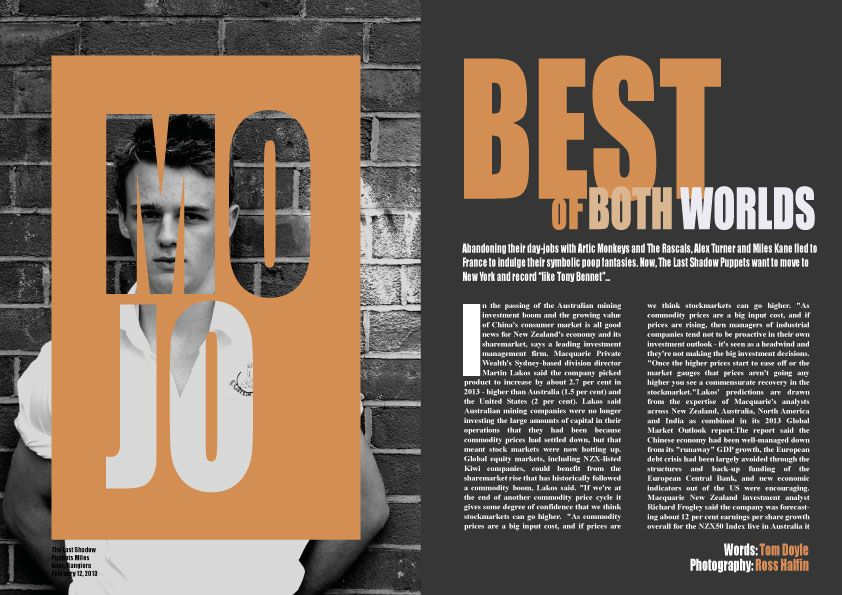 Remake of best of both worlds double page spread mojo for Top design mag