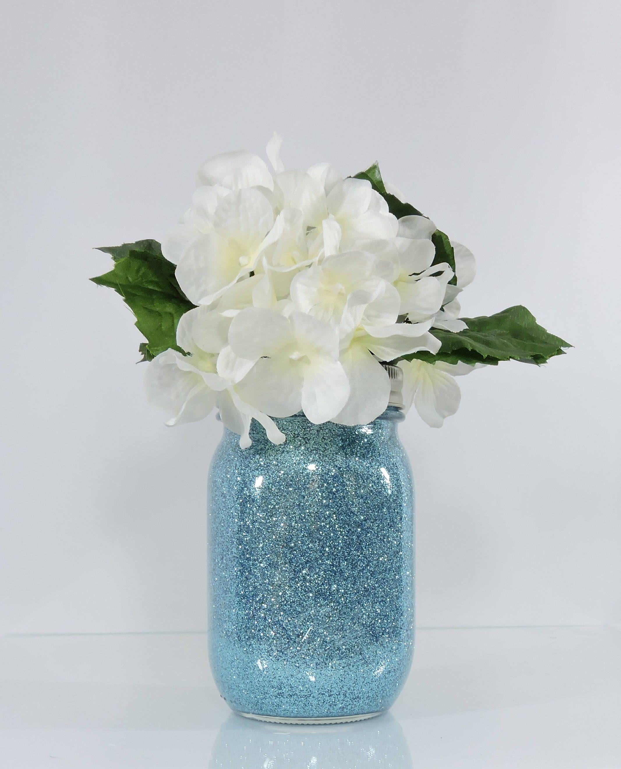 Light Blue Wedding Decor Glitter Mason Jar Centerpiece, Baby Shower ...