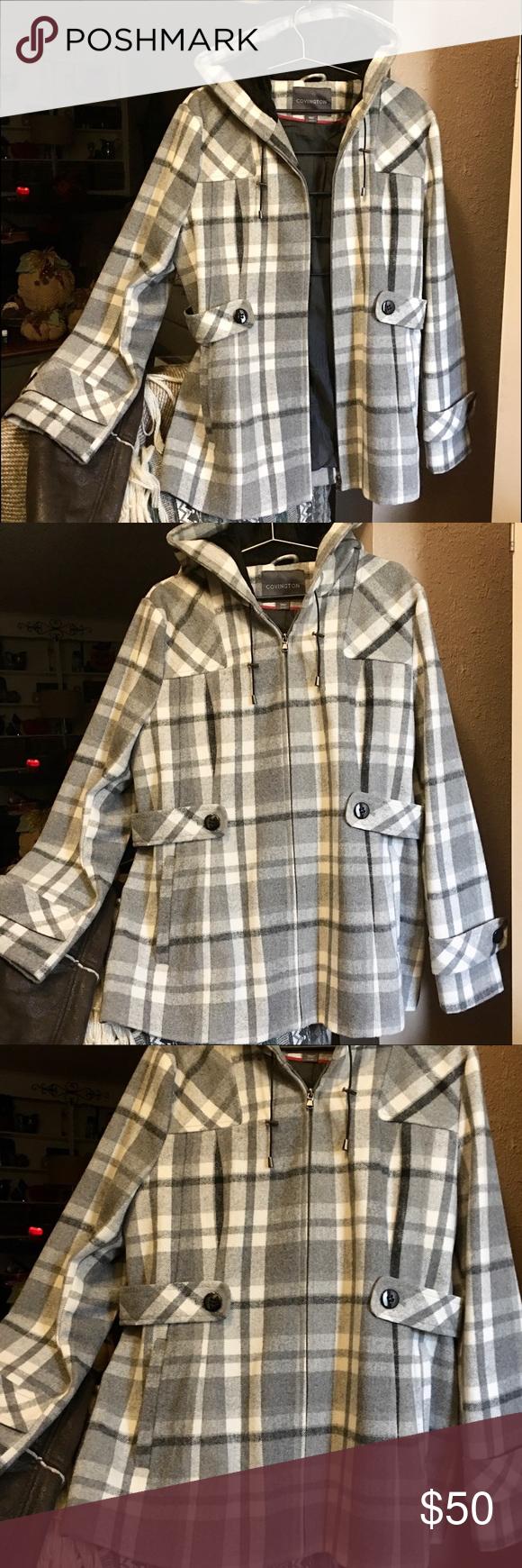 Covington Jacket Coat Xl Gray White Black Plaid Black Plaid Plaid Coat Plaid [ 1740 x 580 Pixel ]