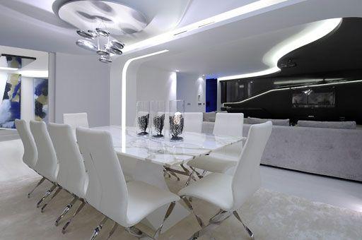 Pin By Liz On Area Del Comedor Dining Room Contemporary Minimalist Interior Design Futuristic Dining Room
