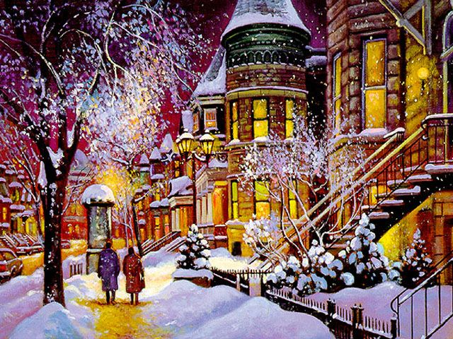 Pin By Andrea M Bustos On Art 6 Cityscape Art Snow Illustration Winter Scenes