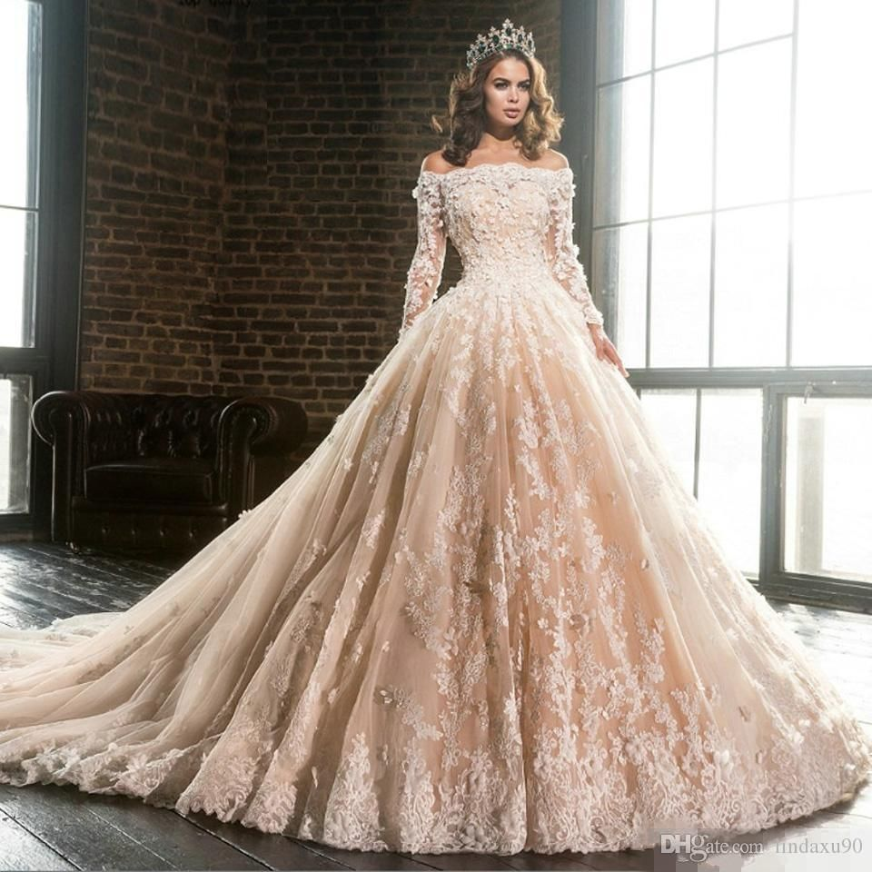 Vintage Long Sleeve Lace Appliques Ball Gown Wedding Dresses Bridal Gowns Luxury Off The Shoulder Flowers Puffy Champagne Quinceanera Dress From Lindaxu90 156 Online Wedding Dress Ball Gown Wedding Dress Bridal Dresses [ 960 x 960 Pixel ]