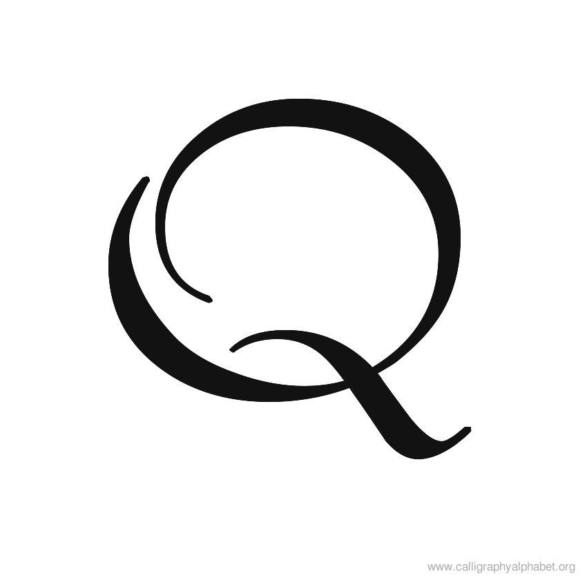 Uppercase calligraphy alphabet q g