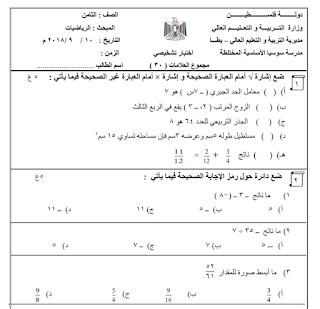 اختبار تشخيصي في الرياضيات للصف الثامن Math Blog Posts Blog