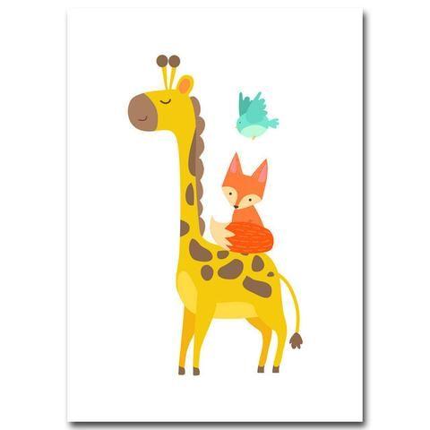 Cartoon Giraffe Fox And Bird Canvas Print For Kids Rooms And - Sporting clay window decalsgiraffe garden statue giraffe clay pot clay pot animal