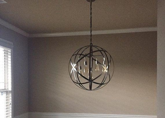 Orb Chandelier Sphere Stainless Steel Polished Metal Strap 4 Light Sockets 18 Globe Hanging