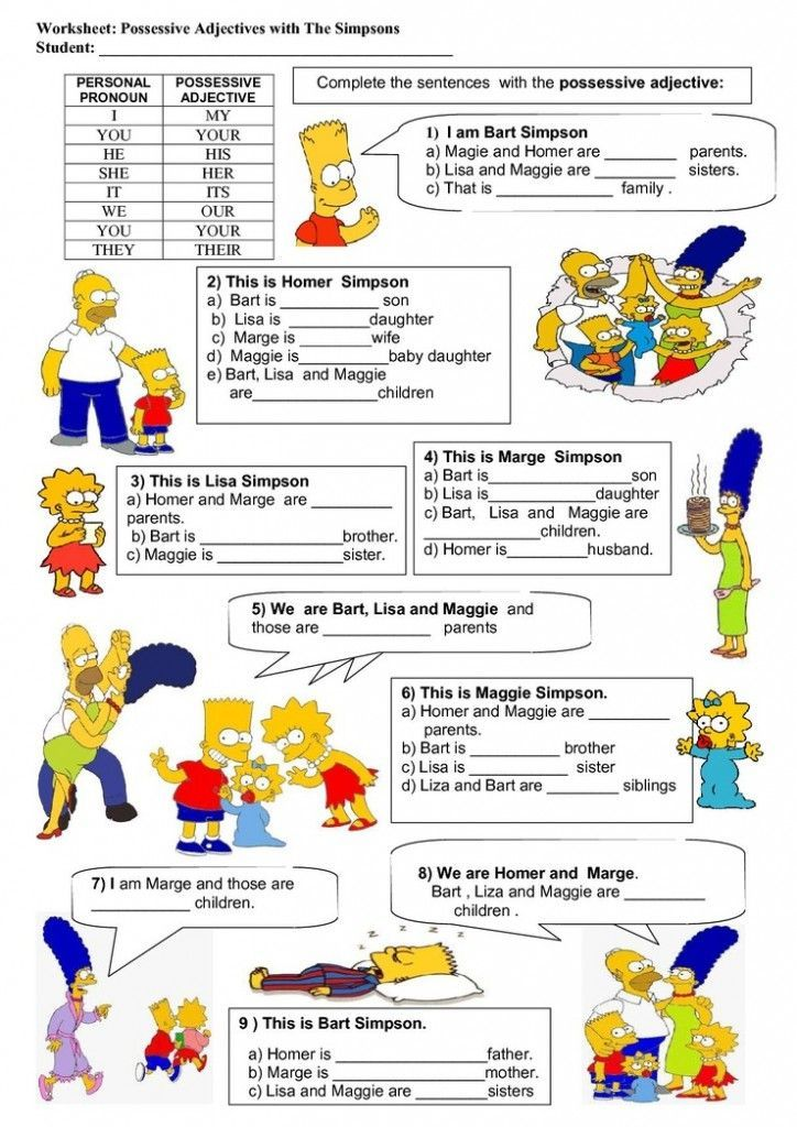 Grade Possessive Exercises Adjectives 5
