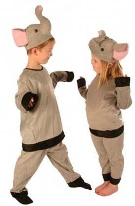 boys girls fancy dress accessory FLUFFY ELEPHANT EAR TAIL ZOO BOOK DAY SET