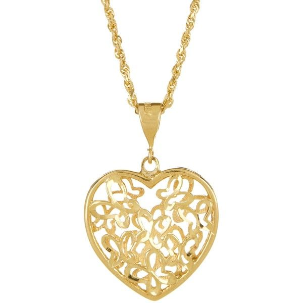 10k Gold Butterfly Heart Pendant Necklace Yellow Gold Heart Necklace Heart Pendant Gold Gold Chain With Pendant