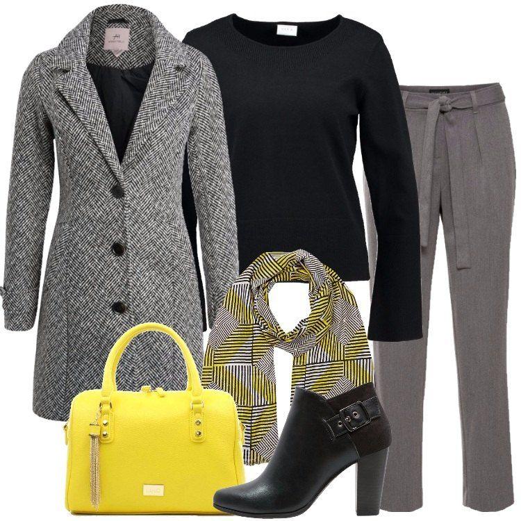 Outfit everyday composto da cappotto classico bianco e nero