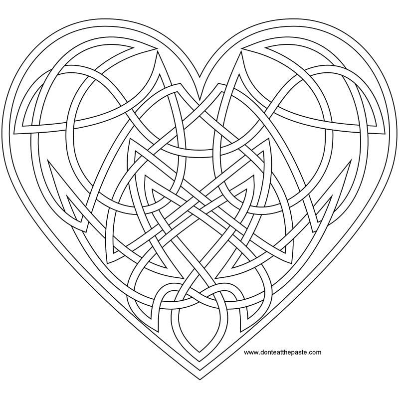 Heart Knot To Color Heart Coloring Pages Mandala Coloring Pages