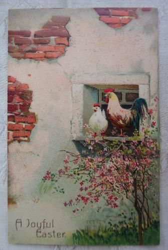 icollect247.com Online Vintage Antiques and Collectables - 1908 Embossed Chickens on Window Ledge Easter Postcard Paper