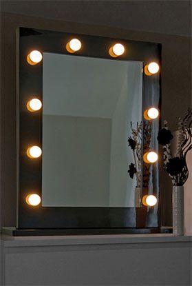 Hollywood Mirror High Gloss Black Bathroom Mirror