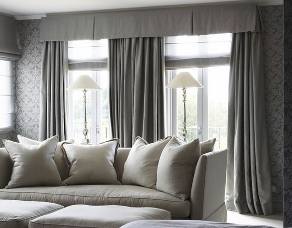 traditional window valance gray living room design ideas | home