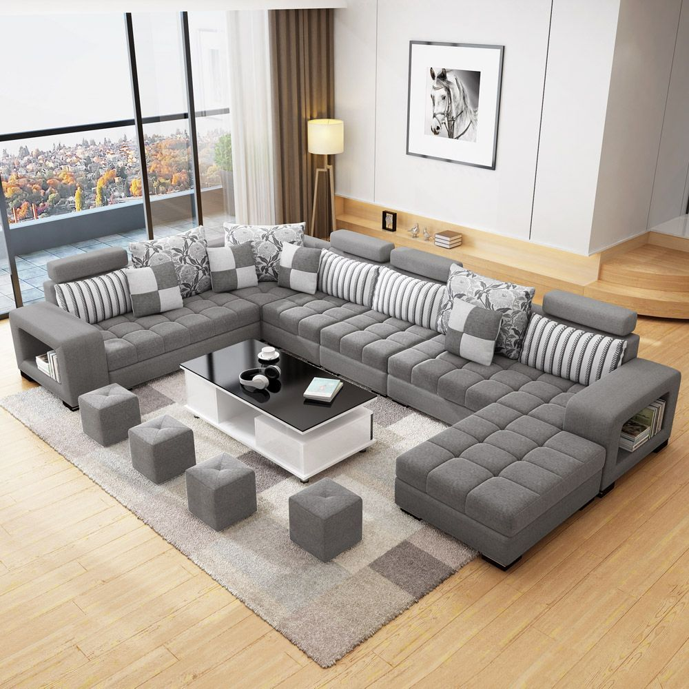 Sgd673 75 Corner Fabric Sofa Sectional Fabric Sofa Living Room Furniture Modern Minimalist No Living Room Sofa Design Luxury Sofa Design Living Room Sofa Set