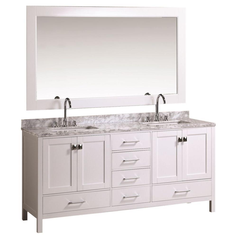 Design Element London 72 In W X 22 In D Bath Vanity In White