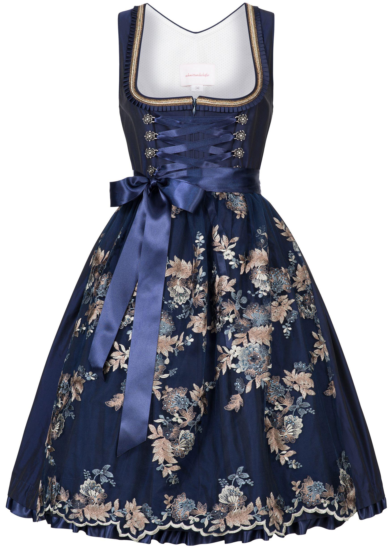 Bekleidung MarJo Trachten Damen Trachten-Mode Midi Dirndl Perla in Blau traditionell Traditionelle Bekleidung