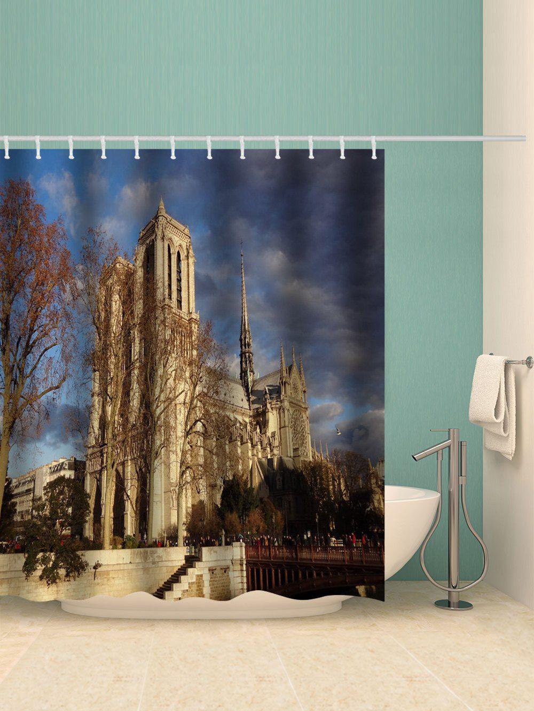 Notre Dame De Paris Print Waterproof Shower Curtain Gold