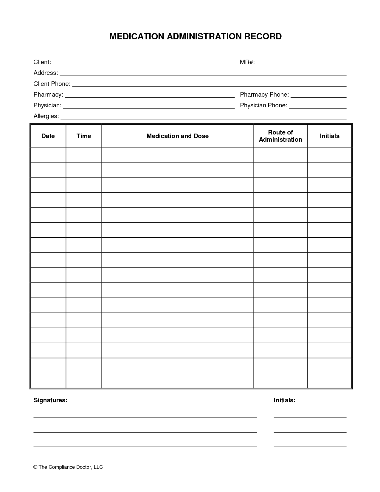Medication Administration Record Form  Med Organizations