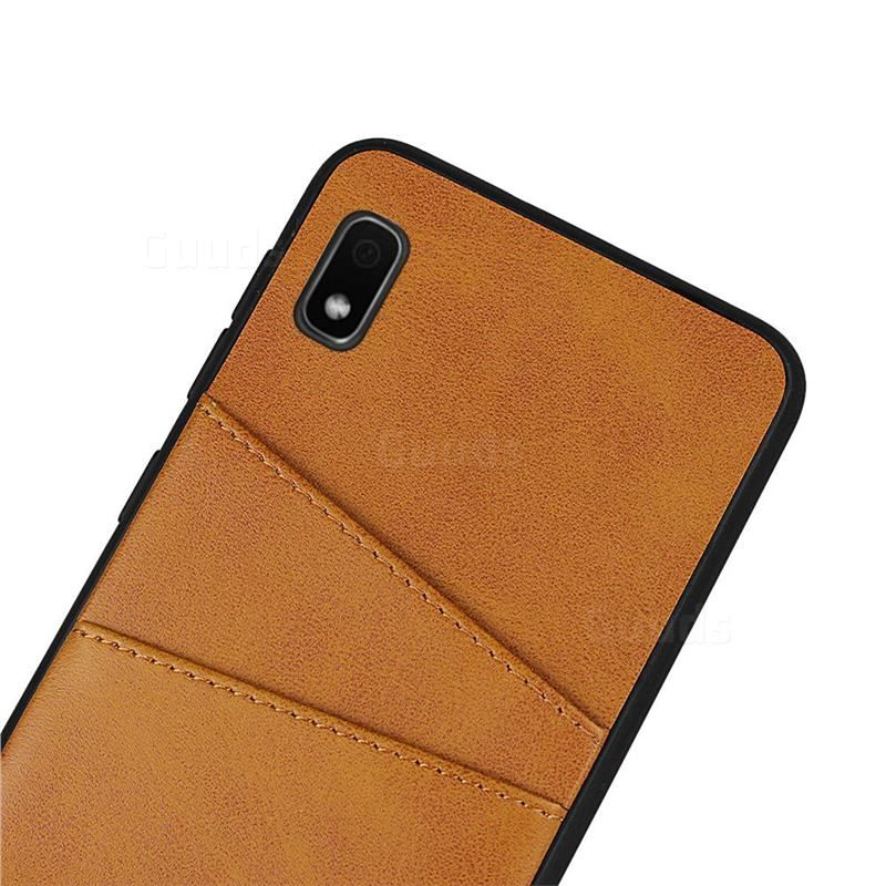 Simple Calf Card Slots Mobile Phone Back Cover for Samsung Galaxy A10 - Yellow - Galaxy A10 Cases - Guuds
