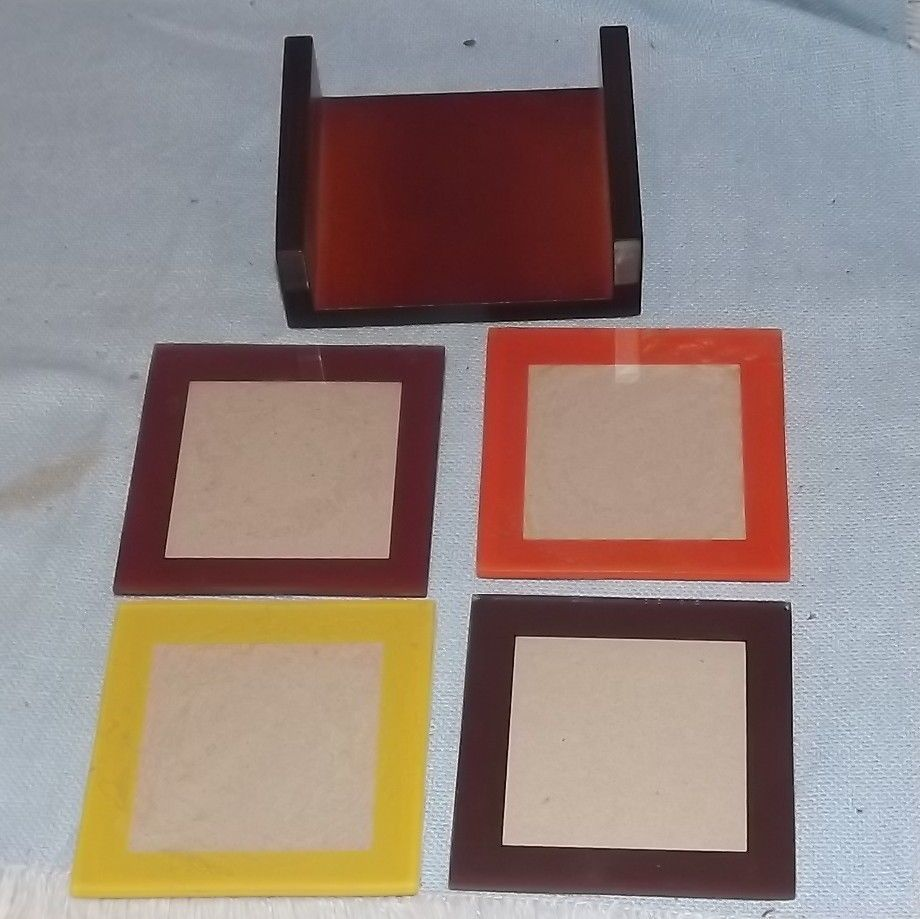 Green Tree Gallery Photo Frame Coasters Multi Color Set Of 4 ...